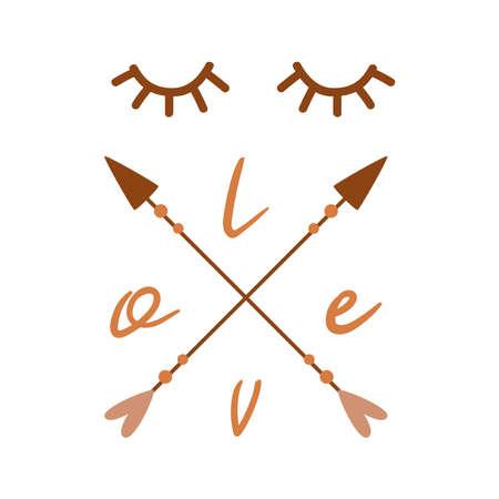 Stylized face from eyes arrows text Love Simple hand drawn trendy line portrait art. Banco de Imagens