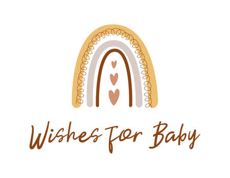 Wishes for baby. Boho baby shower game. Cute kids rainbow card. Gender neutral baby shower invite Vector