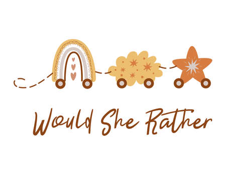 Would she rather Boho Baby Shower game card with train from rainbow cloud star Cute Baby Shower illustration Train Stock Illustratie