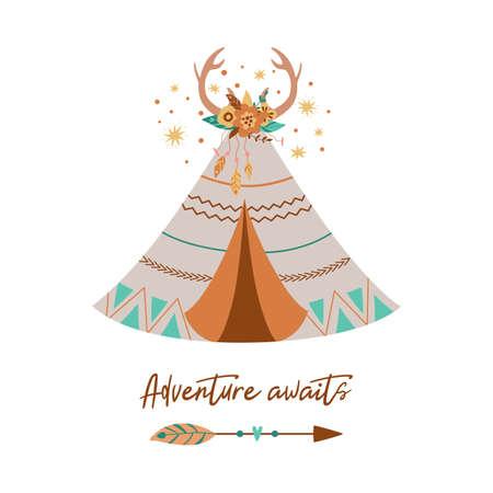 Tribal Teepee vector Cute tribe teepee, Arrow, Feather, horns. Text Adventure awaits. Boho arrow. Floral element