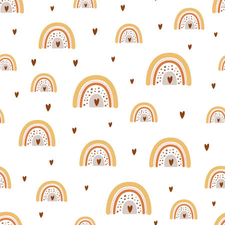 Cute baby rainbow pattern with modern pastel rainbows. Baby boho background Vector seamles pattern Stock Illustratie