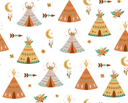 Kids teepee pattern. Adventure baby wigwam pattern. Cute boho background with tent, arrows, teepee wig wam, moon.