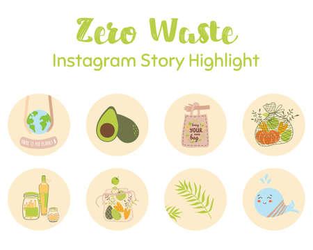 Ecological zero waste story highlight covers set. Hand drawn doodle illustration