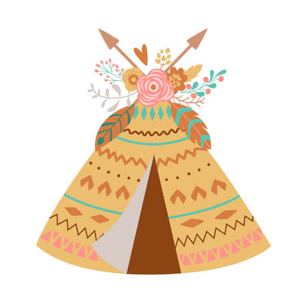 Cute boho teepee with floral bouquet, feathes, arrows. Tribal baby girl element. Teepee tent, wigwam illustration