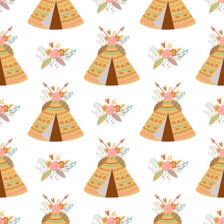 Seamless indian summer floral arrows and teepee illustration Kids aztec background Boho chic print
