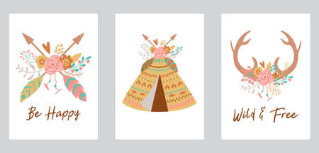 Boho chic card template collection for bohemian birthday arrows, teepee, deer horns decorated flowers.