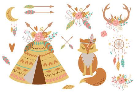 Kids boho clipart for nursery decoration. Cute baby teepee, fox, feathers, arrows, dreamcatcher Baby shower elements Иллюстрация