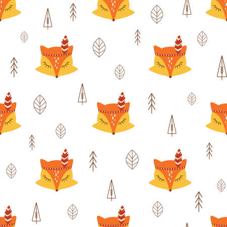 Cute fox pattern seamless forest animal, leaves, tree. Simple fall textile background Kids fox