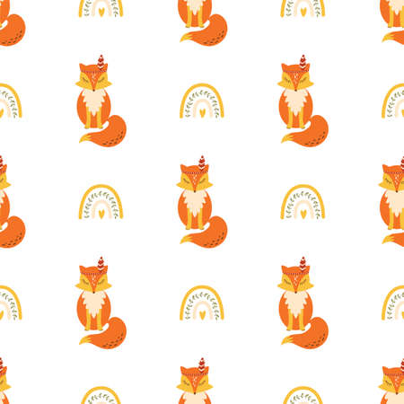 Cute fox pattern seamless with rainbow Simple animal textile background Kids fox Scandinavian style Фото со стока