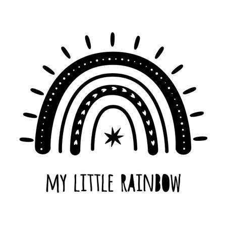 My little rainbow. Cute black rainbow with wings. Baby rainbow . Modern kids graphic element. Vector