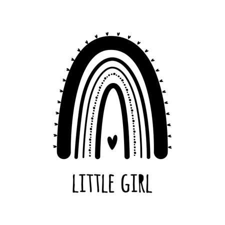 Cute black rainbow with heart. Baby rainbow . Modern kids print, decorative graphic element. Little girl