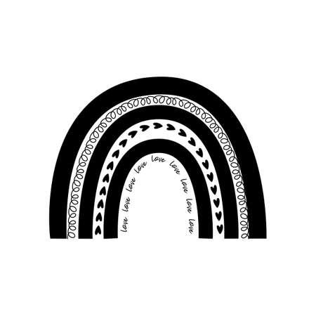 Cute black rainbow shape. Baby rainbow . Modern kids print, decorative graphic element. Vector