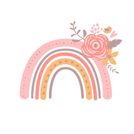 Floral Rainbow Illustration Pink simple baby girl rainbow. Modern kids graphic element. Vector