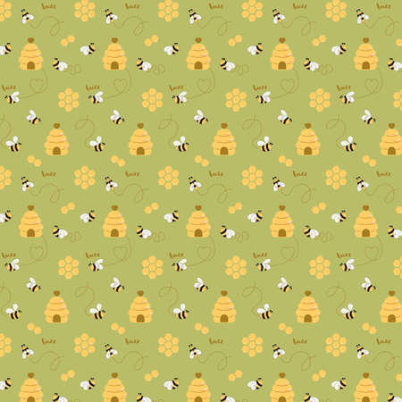 Bee sweet honey pattern Bee hive background Bee seamless pattern Cute natural honeycomb illustration
