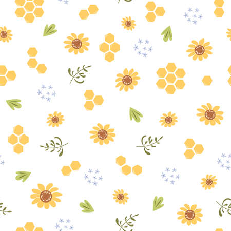 Sunflower sweet honey floral pattern Yellow honeycomb background Cute natural honeycomb illustration