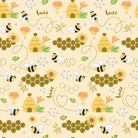 Sweet honey seamless pattern Cute bees, tasty healthy honey, bee hive, flower, honeycomb Vector background