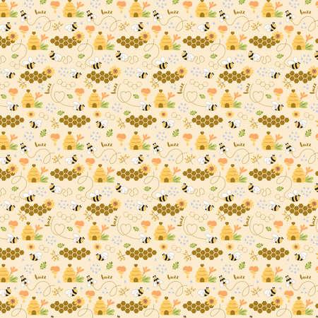 Sweet honey seamless pattern Cute bees, tasty healthy honey, bee hive, flower, honeycomb apiary background Фото со стока