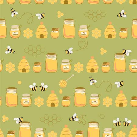 Nartural honey jar background. Sweet honey on green seamless pattern Bees, beehive, honeycomb. Vector