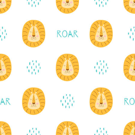 Cute lion baby pattern. Funny animal faces seamless pattern. Kids print with lions head. Simple scandi animal