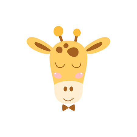 Cute giraffe face. Simple kids safari animal head icon for baby nursery art Kids print African animal illustration