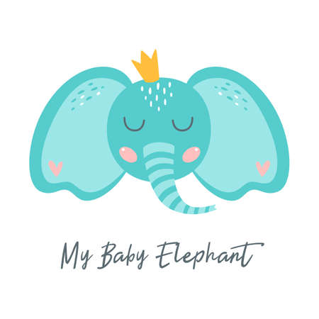 Baby elephant print for kids apparel Cute elephant face with crown. Baby shower element. Nursery art design. Vector  イラスト・ベクター素材