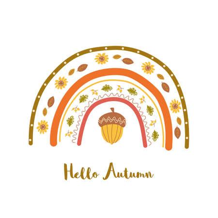 Cute autumn rainbow. Fall printable poster. Modern nursery rainbow with yellow acorn, leaves, flower. Fall vibes baby element. Doodle childish rainbow, autumn illustration kids nursery art, home decor Zdjęcie Seryjne