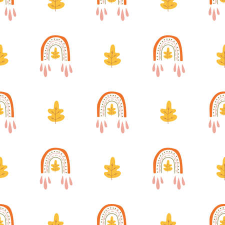Seamless fall pattern. Autumn rainbow with oak leaves. Cute fall wallpaper in boho style. Autumn gift paper, web page background, autumn greeting cards. Hand drawn rainbow. Digital illustration.