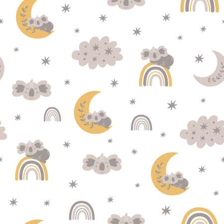 Baby bear pattern. Sweet dream. Sleeping koala bear on the moon, rainbows, clouds, stars. Scandinavian kids texture