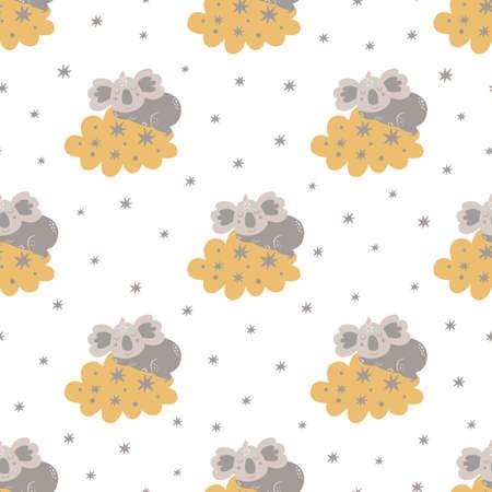 Baby bear pattern. Sweet dream. Sleeping koala bear on the clouds, stars. Childish kids texture. Good night