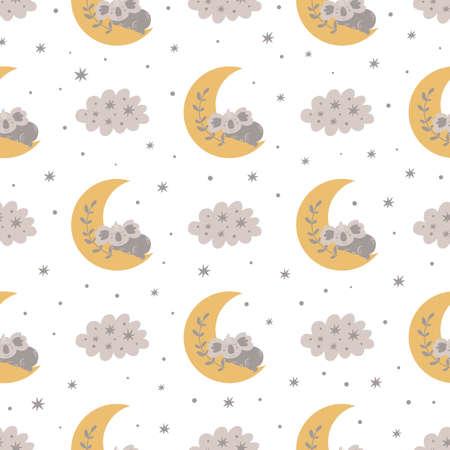 Sleeping koala bear on the moon Baby pattern baby. Scandinavian cartoon style. Cute kids bed linen textile Ilustracja