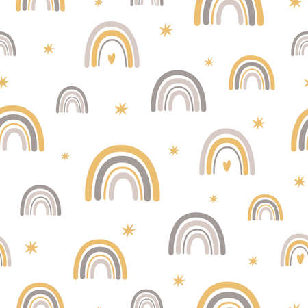 Rainbows Baby scandinavian pattern Baby boho background with cute rainbows Pastel nursery texture Vector