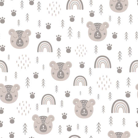 Woodland bear pattern Scandinavian animal face, baby rainbow. Cute wildlife surface Kids tribal bear background