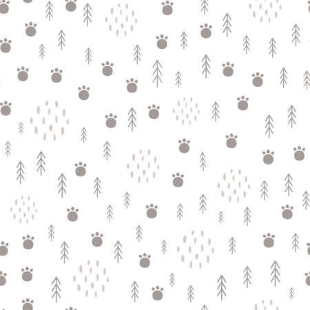 Woodland seamless pattern Scandinavian animal paw, forest tree. Light baby surface Kids wildlife background 写真素材