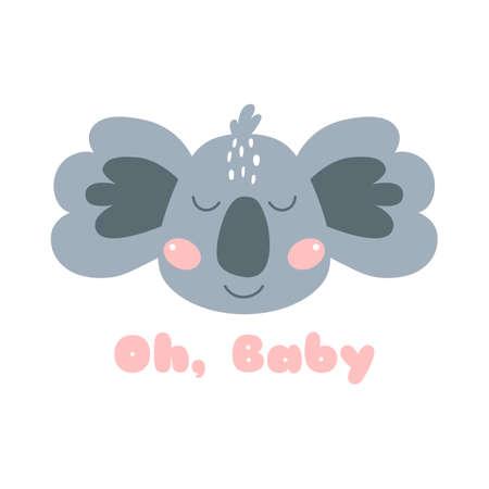 Cute Koala face. Baby koala face Oh baby phrase Safari animal illustration. Print design, nursery art Zdjęcie Seryjne