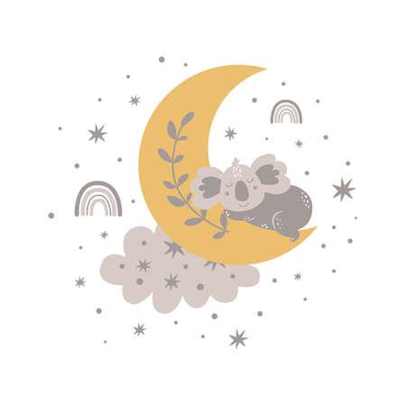 Cute baby koala sleeping on the moon. Boho moon, baby animal, cloud rainbow, stars. Nursery sweet dream card