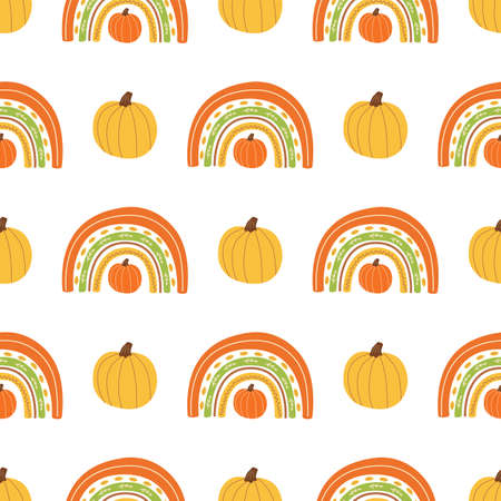 Fall rainbow with pumpkin pattern Cute autumn seamless background for fall season. Baby rainbow. Thanksgiving time  イラスト・ベクター素材