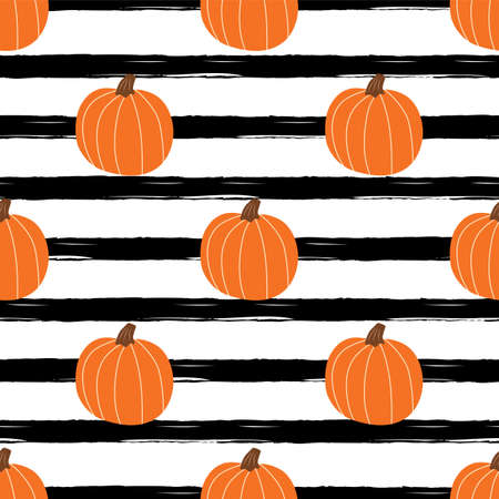 Orange pumpkin on black striped background. Simple Halloween seamless patterns, fall pumpkin, autumn texture.