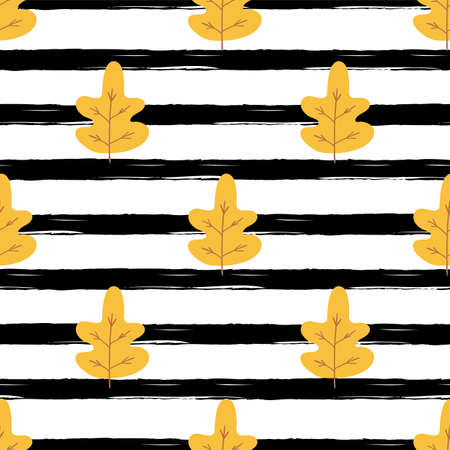 Yellow autumn leaves on black stroke background. Simple fall seamless pattern, autumn endless illustration  イラスト・ベクター素材