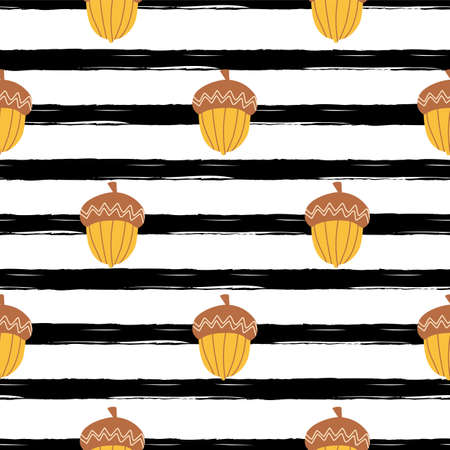 Yellow autumn acorn on black stroke background. Simple fall seamless pattern, autumn endless illustration  イラスト・ベクター素材
