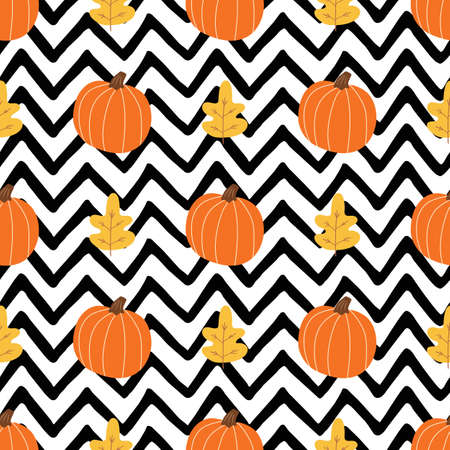 Orange pumpkin, autumn leaves on black zigzag lines background. Simple Halloween seamless pattern  イラスト・ベクター素材