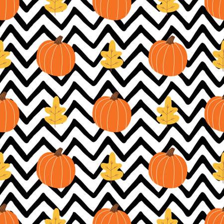 Orange pumpkin, autumn leaves on black zigzag lines background. Simple Halloween seamless pattern Zdjęcie Seryjne