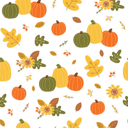Autumn harvest pattern. Orange pumpkin, yellow leaves, berry, floral elements. Bright autumn seamless pattern  イラスト・ベクター素材