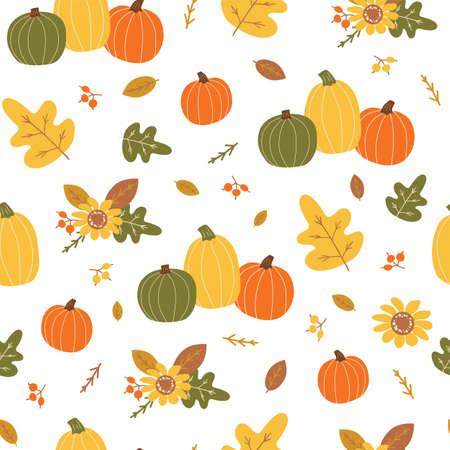 Autumn harvest pattern. Orange pumpkin, yellow leaves, berry, floral element. Bright autumn seamless pattern