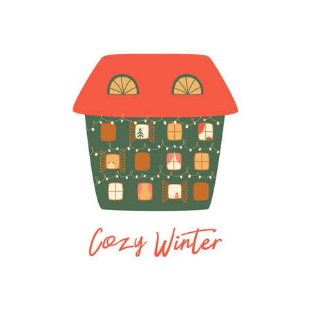 Christmas house isolated on white. Winter house. Cartoon happy new year city building. Merry Christmas banner. Cute greeting card. Winter time. Winter city landscape element. Childish illustration.