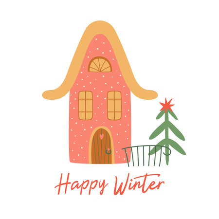 Christmas house isolated on white. Winter house. Cartoon happy new year city building. Christmas tree. Happy Winter cute greeting card. Winter time. Winter city landscape element. Kids illustration.