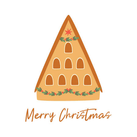 Christmas house isolated on white. Winter gingerbread house. Cartoon happy new year city building. Merry Christmas banner. Cute greeting card. Winter city landscape element. Cozy illustration. 写真素材