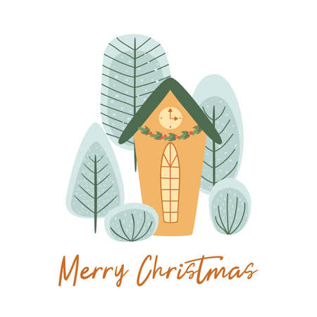 Winter house, winter trees. New Year and Christmas holidays elements. Stylized winter character house. Christmas city landscape, forest, park. Cute greeting card. Winter time, object illustration.