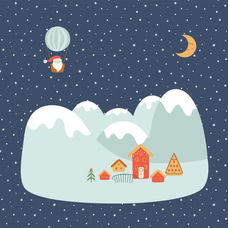 Christmas mountains. Christmas alpes. Winter landscape at night. Village Winter scene concept. Cute forest houses, Santa on hot air balloon. Cottage, farmhouse on rural landscape. Vector illustration.