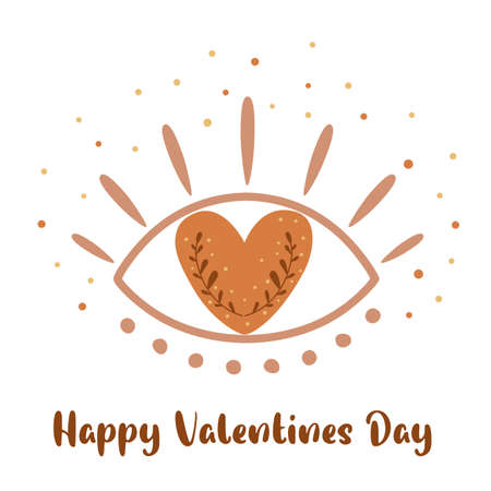 Bohemian eye. Boho Valentines Day element. Boho love eye. Heart with botany branch. Isolated botany ethnic eyes with heart. Romantic symbol Happy Valentines Day sign. Love. Cute vector illustration.