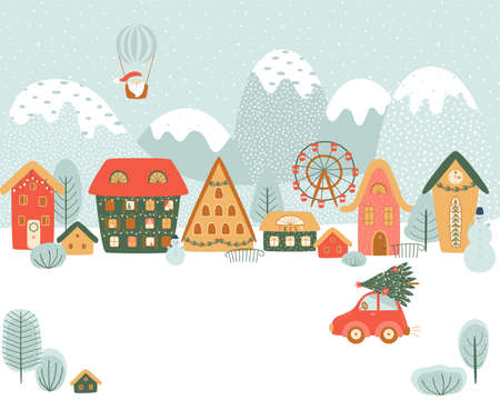 Magical Christmas village in mountains. Winter village, countryside, Christmas landscape, car. Cute cartoon background